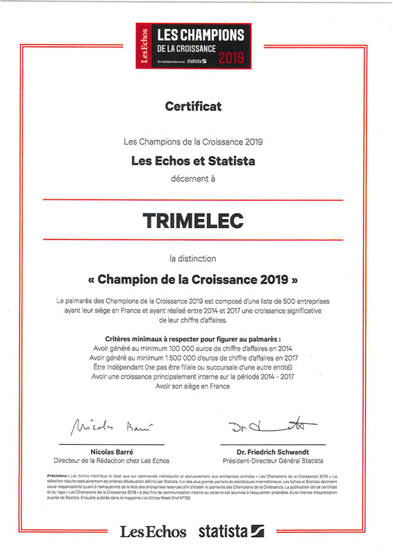 """Certificat """"Champion de la croissance 2019"""""""
